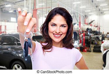 女, 自動車, keys.
