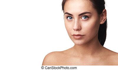 女, 自然, 健康, 構造, 顔, かなり, 皮膚