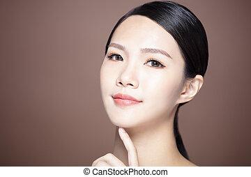 女, 自然, 構造, 若い, きれいにしなさい, 皮膚