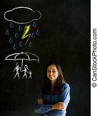 女, 自然, 考え, 黒板, について, 教師, 災害, 背景, 家族, 保護
