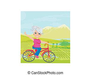 女, 自転車, 年配