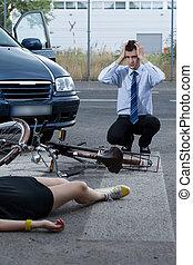 女, 自転車, 後で, 事故