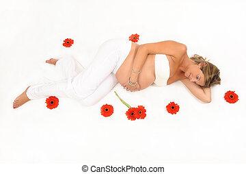 女, 花, 囲まれた, 妊娠した