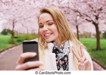 女, 花, 春, 取得, park., かなり, 肖像画, 自己