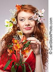 女, 花, 肖像画, 春, 美しい
