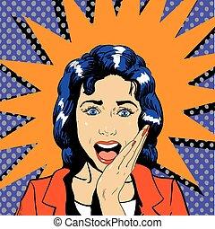 女, 芸術, うわーっ, 効果, イラスト, 顔, ベクトル, ポンとはじけなさい, 漫画, mouth., 開いた, style., 驚かされる, レトロ