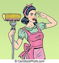 女, 芸術, 家, モップ, 若い, 主婦, 確信した, ポンとはじけなさい, 清掃