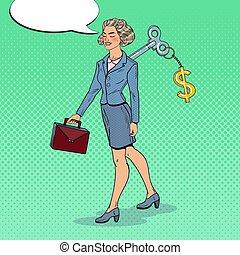 女, 芸術, 彼女, ビジネス, automation., 仕事, ドル, ポンとはじけなさい, 印, back., ベクトル, イラスト, キー, 機械