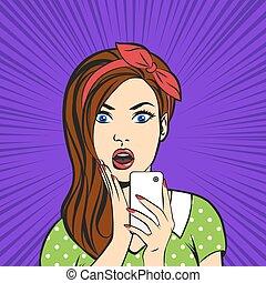 女, 芸術, 彼女, ポンとはじけなさい, 顔, 電話, ベクトル, 口, 手を持つ, 驚いて開きなさい
