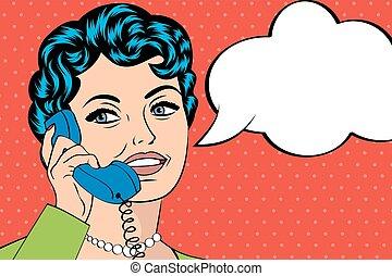 女, 芸術, 談笑する, イラスト, ポンとはじけなさい, 電話