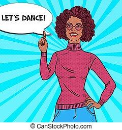 女, 芸術, hairstyle., パーティー。, ポンとはじけなさい, ディスコ, 魅力, ベクトル, イラスト, アフリカ