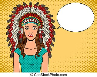 女, 芸術, indian, ポンとはじけなさい, ベクトル, 頭飾り