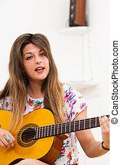 女, 若い, ∥あるいは∥, ギター, 歌うこと, 遊び
