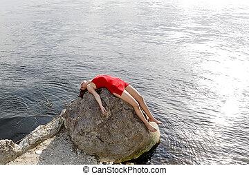 女, 若い, あること, 岩
