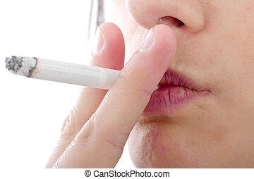 女, 若い, の上, 喫煙, 終わり