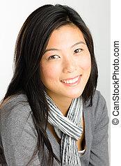 女, 若い, アジア人