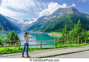 女, 若い, オーストリア, 湖, 写真うつりする, 高山