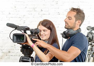 女, 若い, カメラ, ビデオ, 専門家, 人