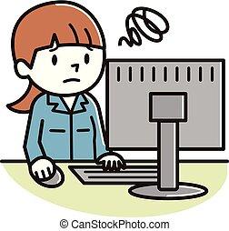 女, 若い, コンピュータ, 悩まされている, 個人的, 見なさい