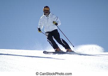 女, 若い, スキー
