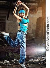 女, 若い, ダンス
