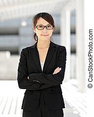 女, 若い, ビジネス, アジア人
