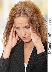 女, 若い, ビジネス, 頭痛