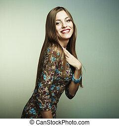 女, 若い, ファッション, 肖像画, 幸せに微笑する