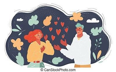 女, 若い, ベクトル, 恋人, 暗い, 人, love., バックグラウンド。, イラスト