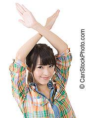 女, 若い, 交差させる, アジア人, 手, 間接費