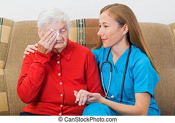 女, 若い, 年配, 医者