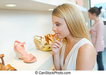 女, 若い, 店, 靴