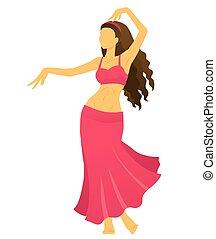 女, 若い, 提示, 腹, ダンス, シルエット