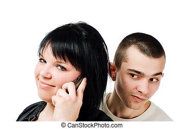 女, 若い, 携帯電話, 盗み聞き, 人