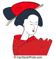 女, 若い, 日本語