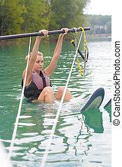 女, 若い, 水, 勉強, スキー, 幸せ