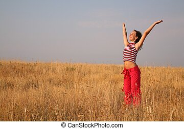 女, 若い, 牧草地