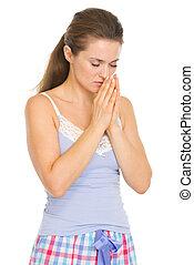 女, 若い, 睡眠, 祈ること, パジャマ, 前に