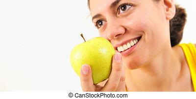 女, 若い, 美しさ, アップル
