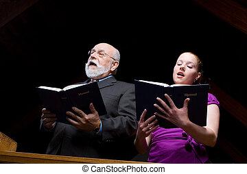 女, 若い, 賛美歌集, 教会, シニア, 歌うこと, 白, 人