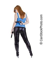 女, 若い, 銃