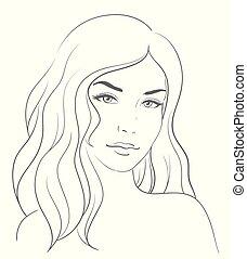 女, 若い, 長い表面, 毛, ブロンド
