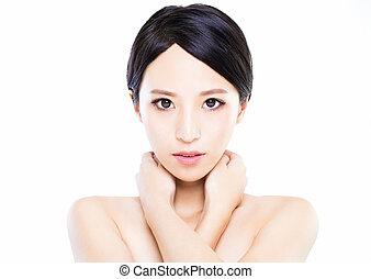 女, 若い, 顔, クローズアップ, きれいにしなさい, 皮膚