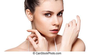 女, 若い, 顔, 健康, 成人, 皮膚, 肖像画