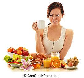 女, 若い, 食事, 持つこと, バランスをとられた, breakfast.