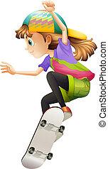女, 若い, skateboarding