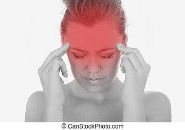 女, 苦しみ, から, ひどい, 頭痛