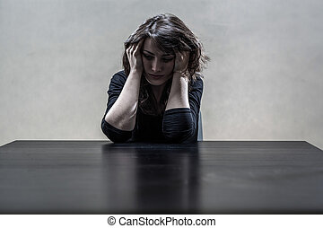 女, 苦しみ, から, a, ひどい, 憂うつ