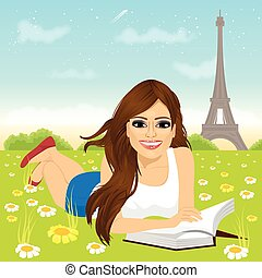 女, 草にあること, 読む本