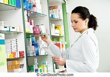 女, 薬局, 化学者, 薬局